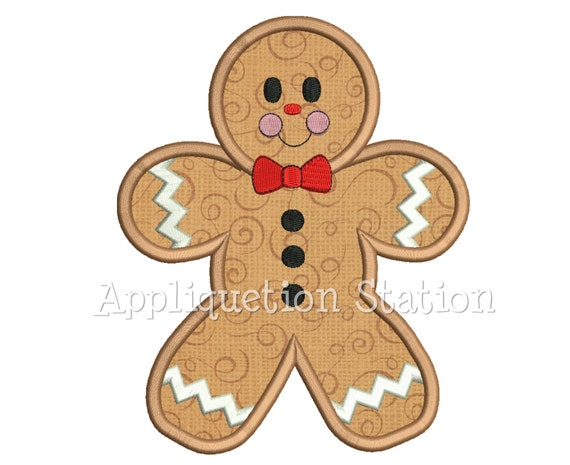 Gingerbread Man Applique Machine Embroidery Design Christmas