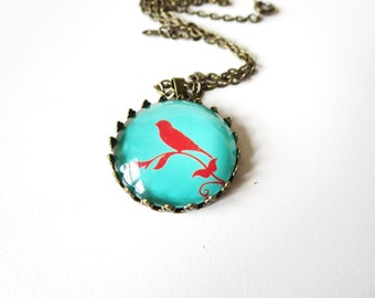 Bird necklace- Turquoise Bird on the  branch  pendant