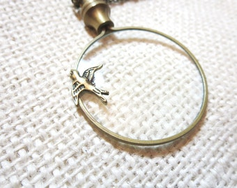 """Magnifier Necklace, Bird  Necklace -2"""" magnifying glass  pendant , Fun and Handy. Trendy and Chic Jewelry"""