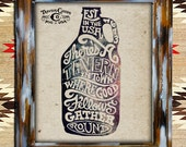 Beer Jug Growler Drink Sign Poster Graphic Antique Decor Home Wall Lettering Hand Art Rustic Vintage Typography Type Print Frame Americana