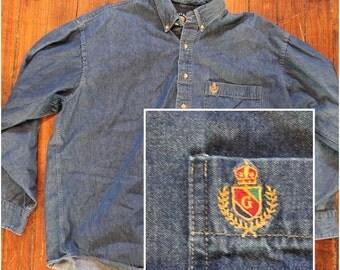 vintage denim Salty Dog GANT mens oxford shirt - long sleeved button up jean shirt - XL