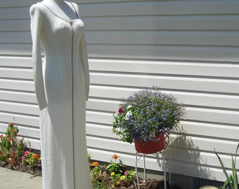 60's, 70's off white long knit dress, K3 Knit Bazaar.London's of Erie, formal dress, wedding gown, stretch knit