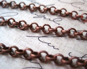 Rolo Chain / Red Copper Color Cross Chain / 10 to 20 Feet Open Link Chain / 4mm / Lead Free / Necklace Finding