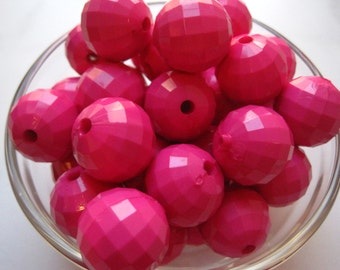 Chunky Beads, 22mm Deep Pink Faceted Gumball Beads, 10 pcs, Disco Beads, Acrylic Bead