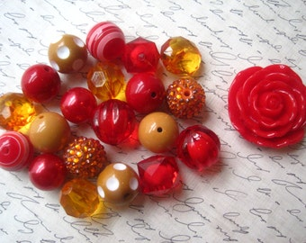 DIY Necklace Kit, Gumball Bead Kit, Red and Mustard Yellow Necklace,  Fall Colors, Bubblegum Necklace Kit, DIY Chunky Necklaces