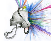 "Abstract Surreal Art Print - ""Wide Awake"" - Jon Helander - Watercolor and Ink PRINT"