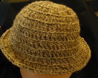 Crocheted grey wool hat