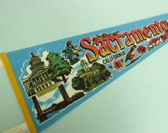 Vintage Sacramento California Souvenir Felt Travel Pennant Banner - Vintage Travel Trailer Decor