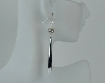 Long Earrings with silver plated teardrops and crystals. (E0002)