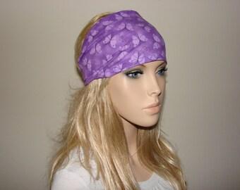 Purple butterflies Head Scarf, Wide Woman Headband, Turban Headband, Yoga Headband, Woman tribal boho head wrap, bandana headband