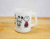 Rare Peanuts Mug, Vintage Fire King Milk Glass Mug