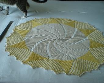 Large Yellow and Ecru Pinwheel Doily
