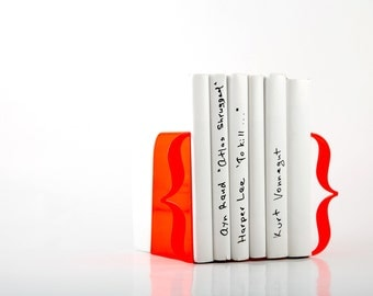 Bookends - Brackets (neon red) - FREE SHIPPING laser cut for precision thick enough to hold a bunch of books.