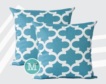 Regatta Light Blue Moroccan Quatrefoil Lattice Pillow Covers Shams - 18 x 18, 20 x 20 and More Sizes - Zipper Closure- dc1820