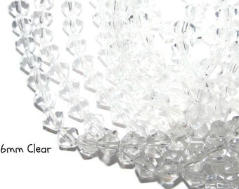 50 - 6mm Glass Bicones - clear (078)