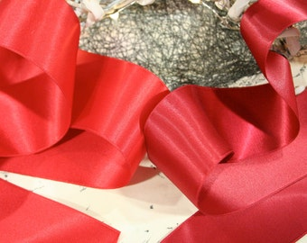 Wide Satin Ribbon, Satin Ribbon, Christmas Ribbon, By the Metre, 50mm, Red