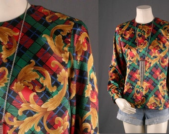 Baroque tunic Blouse top long sleeves tartan gold red Vintage Bohemian women size S small