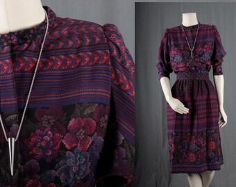 Vintage Purple Dress FLoral Secretary mad Men fifties sixties holt renfrew size M medium