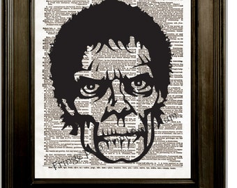 Zombie Face Art Print 8 x 10 Dictionary Page - Pop Art Zombie Face - Horror Goth Psychobilly