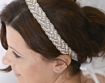 Braided Crystal Bridal Headband, Beaded Wedding Headpiece, ELLE