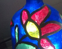 Stained Glass Cobalt Blue Patron Tequila Hand Blown Mexican Hand Painted Faux Glass Bottle Recycled