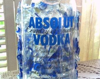 Absolut Vodka Tumbled Sea Glass bottle OOAK