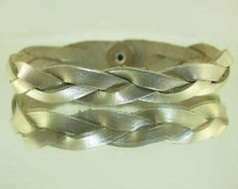 Mystery Braided Leather Bracelet Metallic Silver 50 pk #-