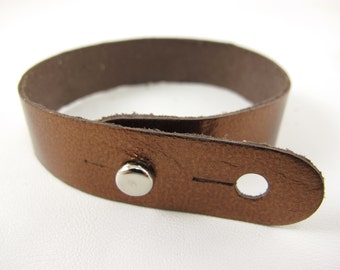 "Metallic Bronze Leather Stud Bracelet 5/8"" Wide"