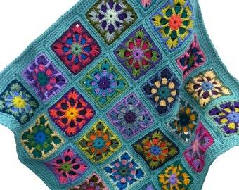 Crochet afghan kaleidoscope handmade crochet granny square baby blanket 34 in. x 34 in., seafoam border, READY TO SHIP