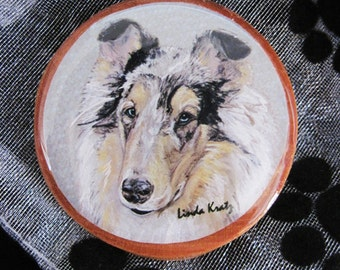 CLEARANCE original merle collie art pin or magnet