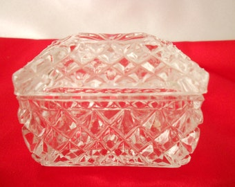 Vintage small glass trinket box, vanity box, jewelry box