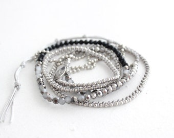 Wrap Bracelet Silver Ball Chain Black And Grey Beads Handmade In Thailand (B4104WP5-C12M21)