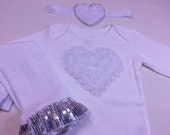 VALENTINES DAY SPECIAL Price, White Heart  Valentines Outfit, White Heart Onesie w Matching Leg Warmers and Headband, Newborn to 24 Months