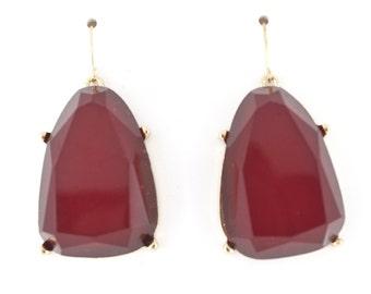 Elegant Gold-tone Dark Red Stone Dangle Drop BIG EARRINGS