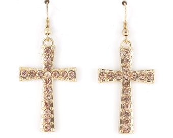 Simple Bright Gold-tone Full Cross Dangle Drop Earrings