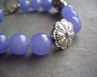 "Lavender Quartzite / Bead / Silver Plated / Purple / Flower Beads / Silver / Toggle - 7"" long - B8"