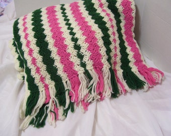 Watermelon Summer Time Fresh Afghan Throw Green Pink and Ivory Picnic Camping  Blanket