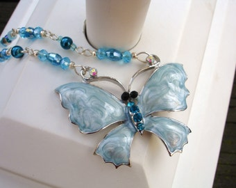 Blue necklace, green necklace, teal necklace, blue, teal, green, butterfly necklace,enamel, gift for her, Christmas gift ideas