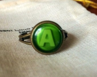 Xbox Button Ring A Green button handmade handcrafted xbox 360 video games ear ring studs call of duty gears of war