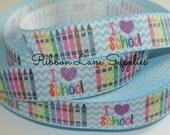"7/8"" Ribbon by the Yard-Back to School Crayon ribbon Wholesale hair bows sewing by Ribbon Lane Supplies on Etsy"