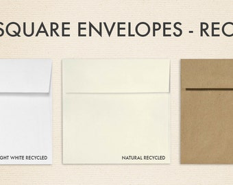 5 x 5 Square Envelopes w/Peel & Press - 100% Recycled Collection (50 Qty.)