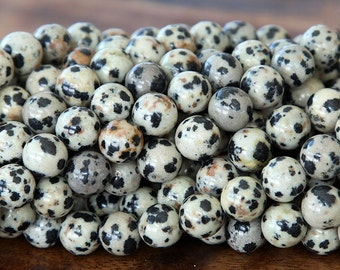 Dalmatian Jasper Beads, 8mm Round - 15.5 inch Strand - eGR-JA002-8