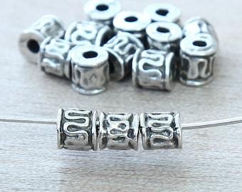 10 Pcs Mykonos Metal Beads, Pewter, 5mm Ornate Tube - eC1457P