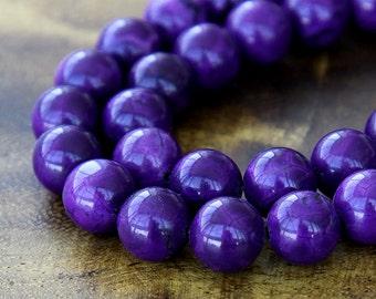 Magnesite Beads, Dark Purple, 12mm Round - 15 inch Strand - eGR-MG007-12