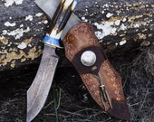 Custom Turquoise and Antler Handled Knife Damascus Steel Collectors Fixed Blade Knife