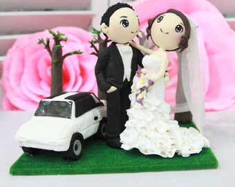 Wedding Cake topper, White Toyota MR2 T- top wedding couple with many layers gown in the woods, clay doll, clay miniature, clay figurine