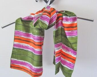 Silk scarf, bright stripes, 1970s fashion, skinny scarf, long striped scarf, vintage scarves, oblong silk scarf, boho scarf