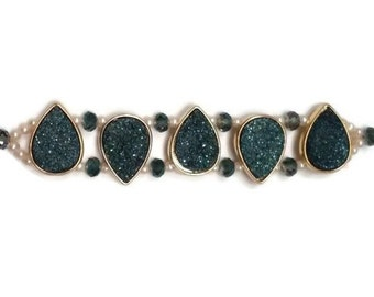 Blue Titanium Druzy, Pearl and Crystal Statement Jewelry Bracelet