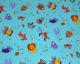 Blue Zodiac Signs Cotton Fabric
