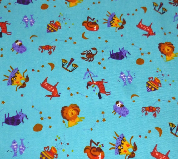 Blue zodiac signs japanese cotton fabric for Astrology fabric